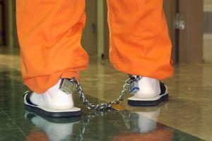 Shackles on legs of inmate