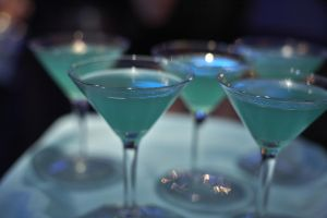 A tray of blue drinks