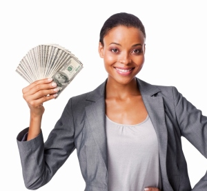 Woman Holding American Currency - Isolated