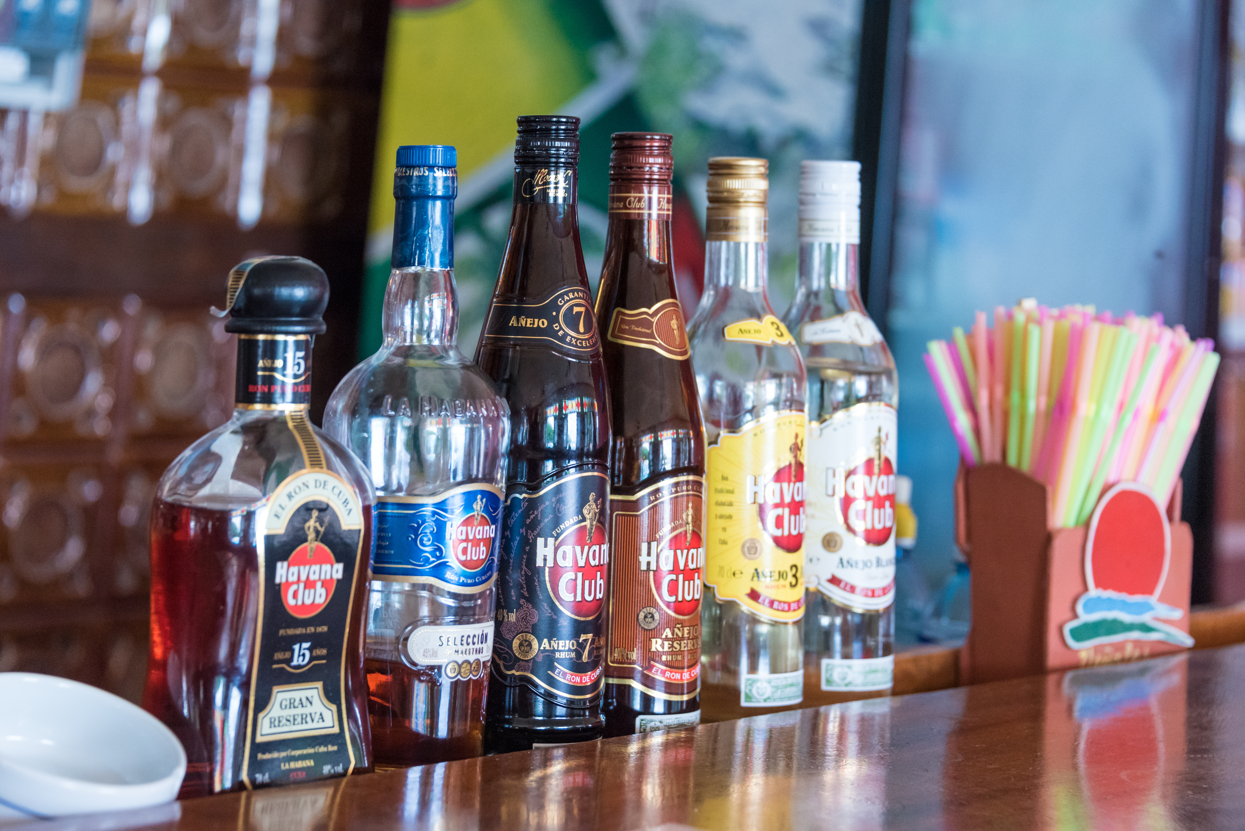 Different kinds of Havana Club rum ordered by age. The older...