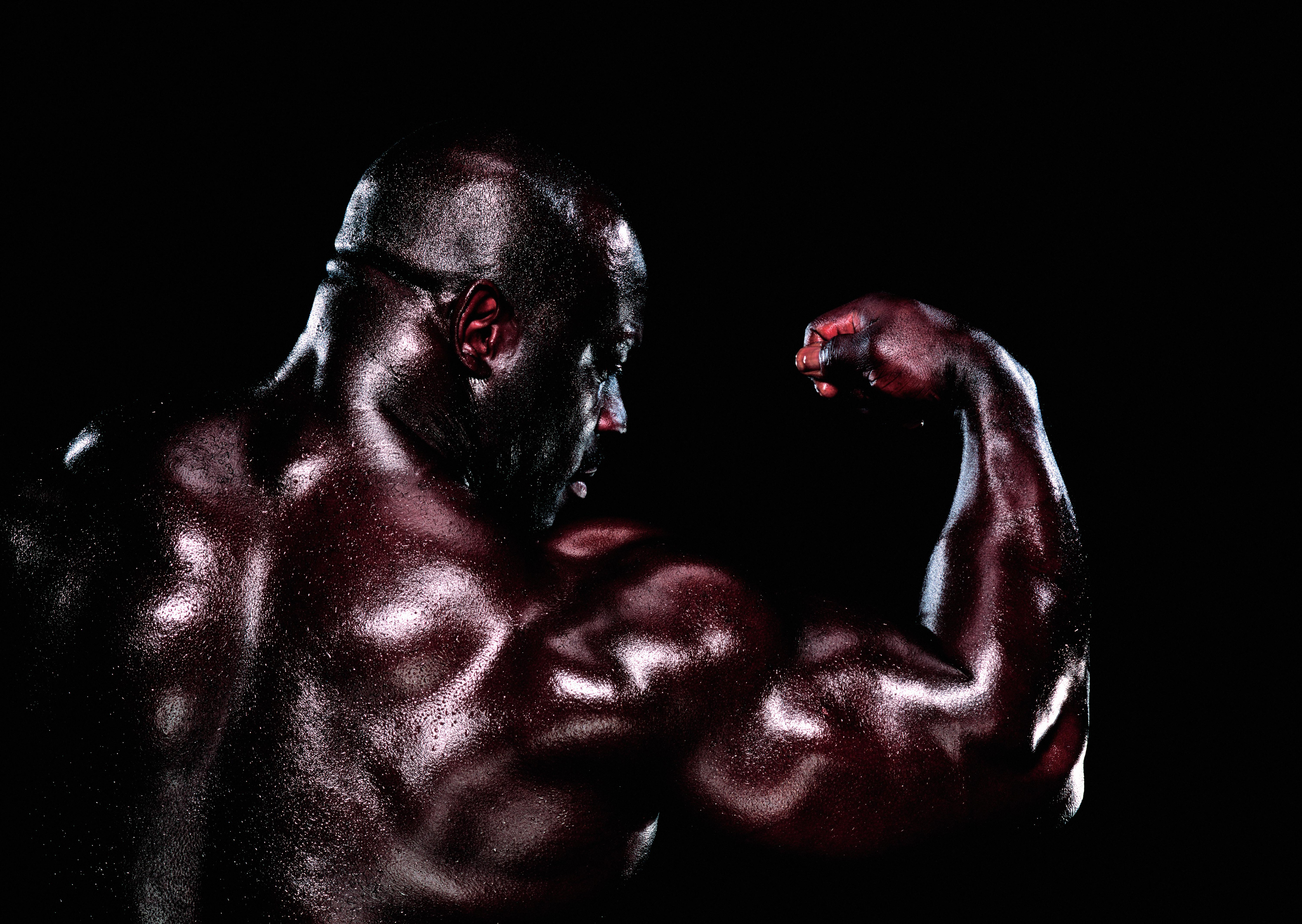 Male body builder flexing bicep, rear view, close-up