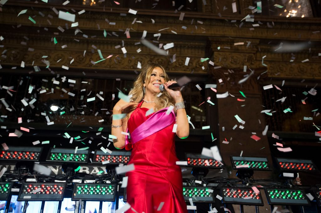 Mariah Carey helps unveil the Bay's Christmas window displays.