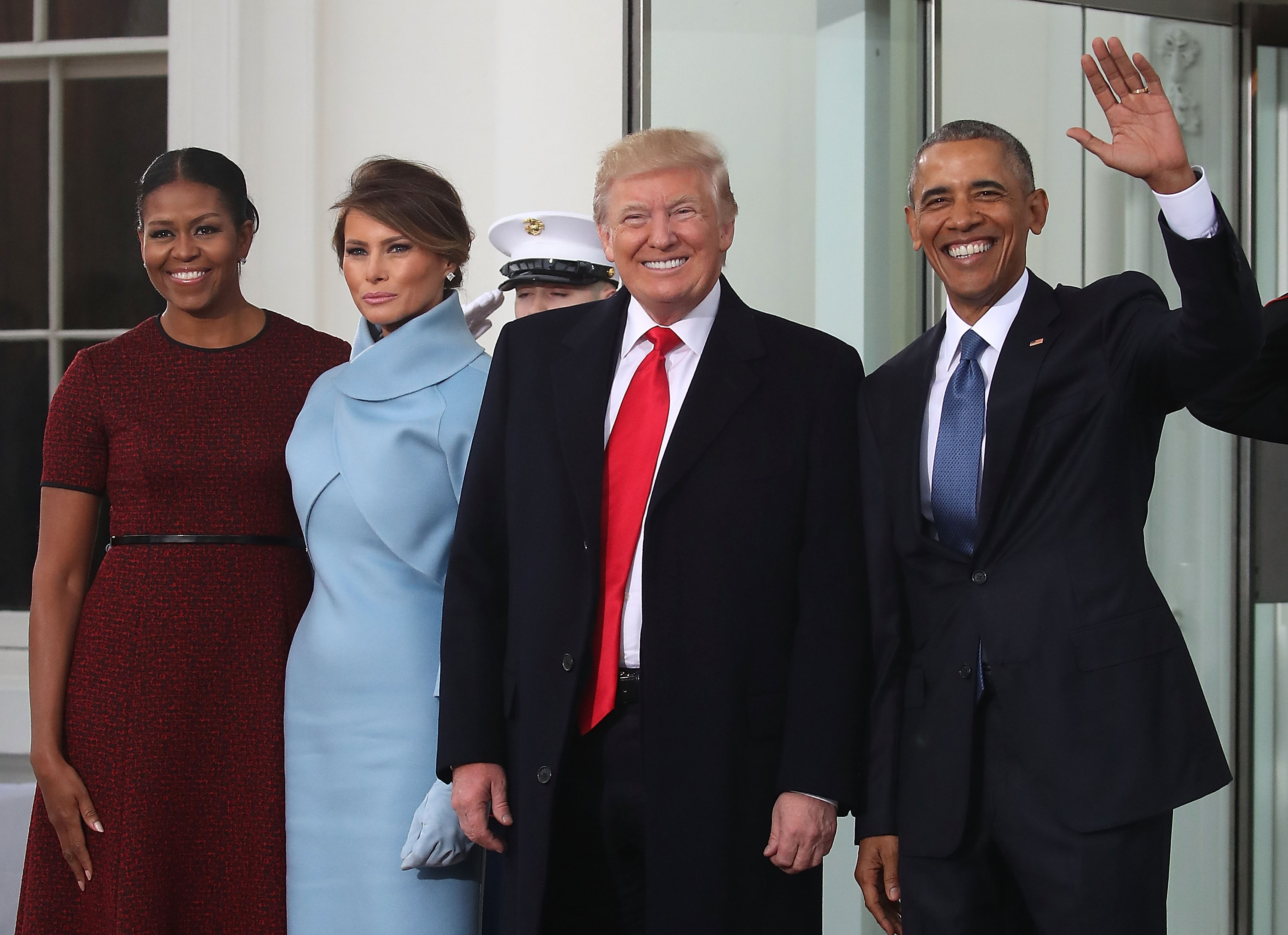 Donald And Melania Trump Arrive At White House Ahead Of Inauguration