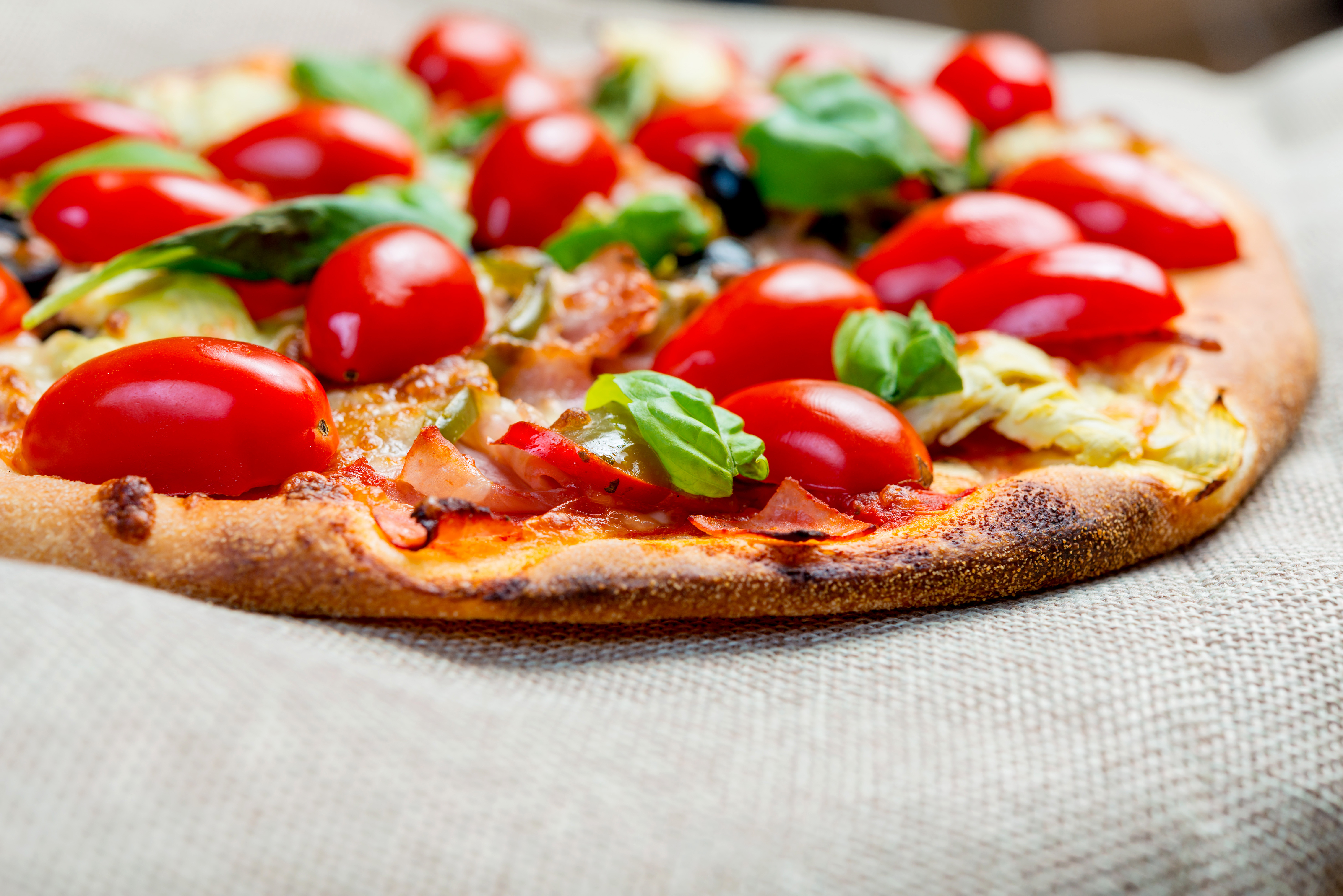 Close-Up Of Rustic Pizza