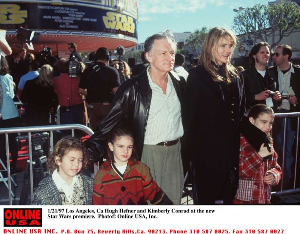 1/18/97 Los Angeles, Ca Hugh Hefner and Kimberley Conrad at the prmiere of the New Star Wars.
