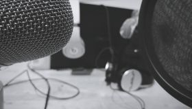 Microphone And Headphones In Studio
