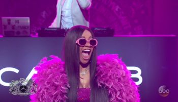Cardi B during an appearance on ABC's Jimmy Kimmel Live!'
