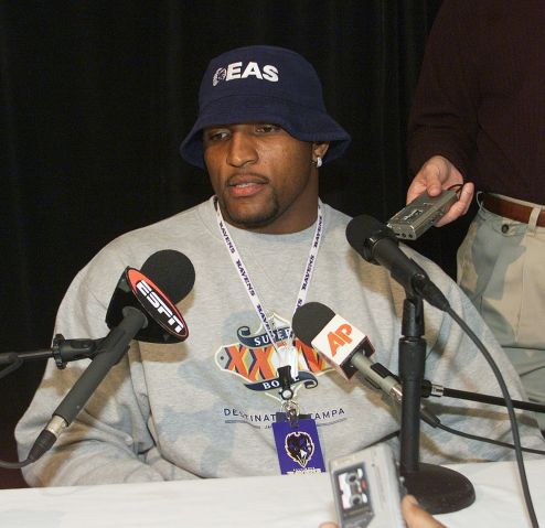 Baltimore Raven's linebacker Ray Lewis, who has been trying