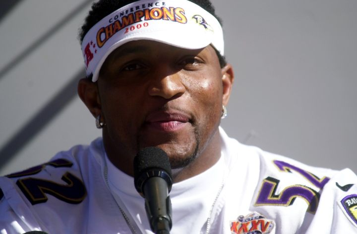 Baltimore Ravens' linebacker Ray Lewis meets the media at th