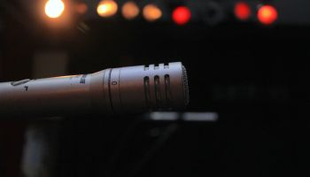 Close-Up Of Microphone At Recording Studio
