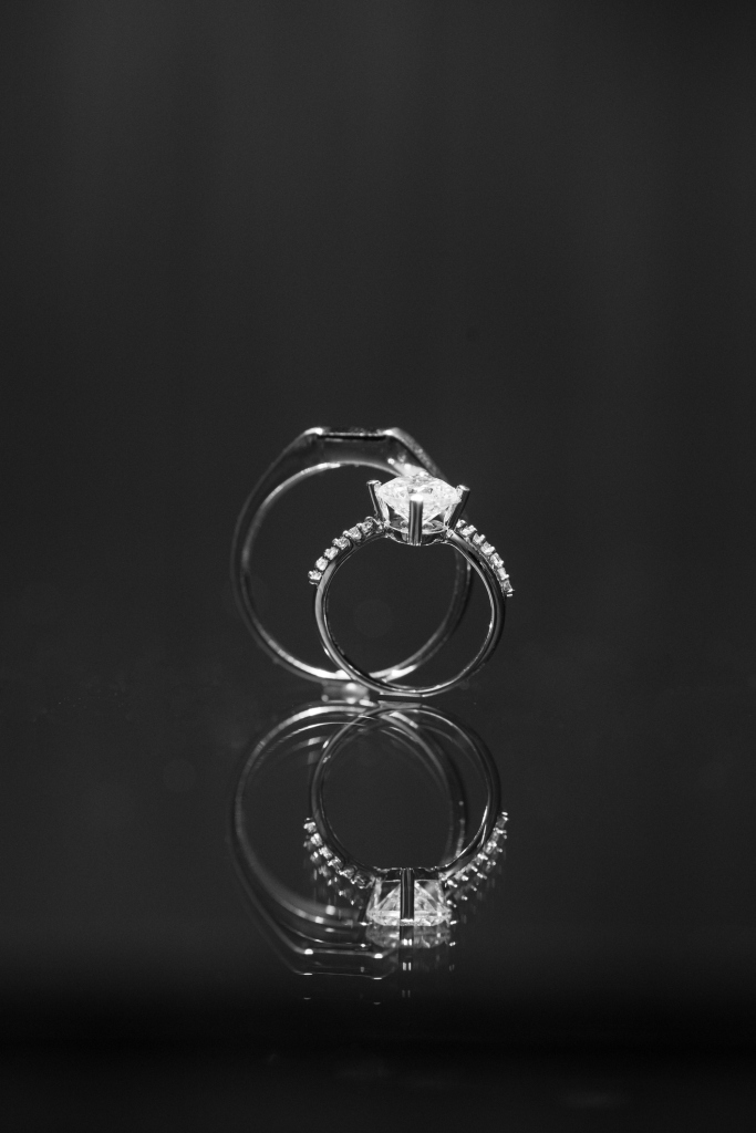 Close-Up Wedding Ring Against Black Background