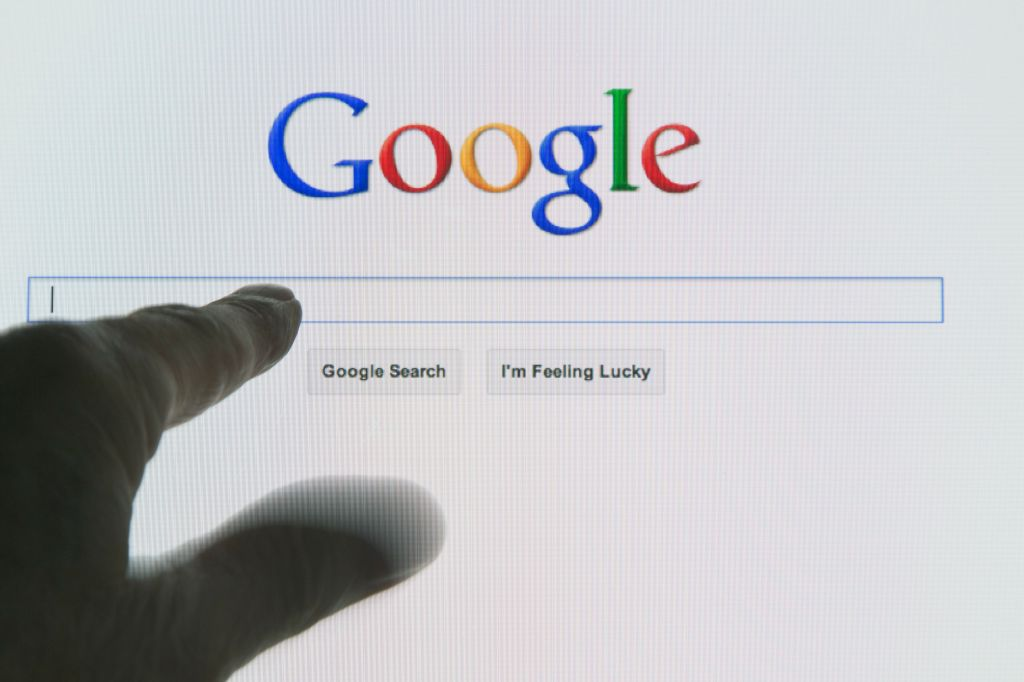 Google search engine opened on computer monitor
