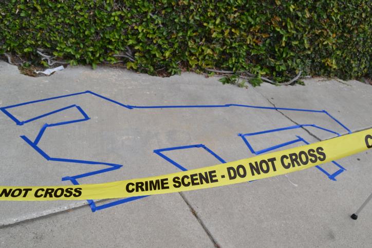 High Angle View Of Crime Scene On Street