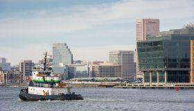 Tug boat near the Inner Harbor, Baltimore, Maryland