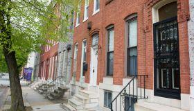 A set of row homes along Pennsylvania Avenue in Baltimore City, MD