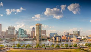 Baltimore harbor in the afternoon - Baltimore, Maryland, USA, June 2019