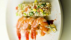 Shrimp brochette and bar of quinoa tabbouleh